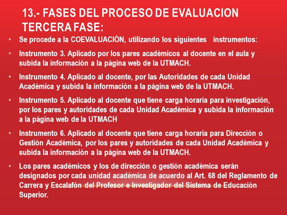 13.- FASES DEL PROCESO DE EVALUACION tercera fase:
