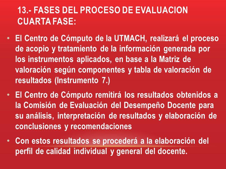 13.- FASES DEL PROCESO DE EVALUACION cuarta fase: