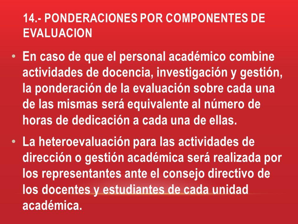 14.- PONDERACIONES POR COMPONENTES DE EVALUACION