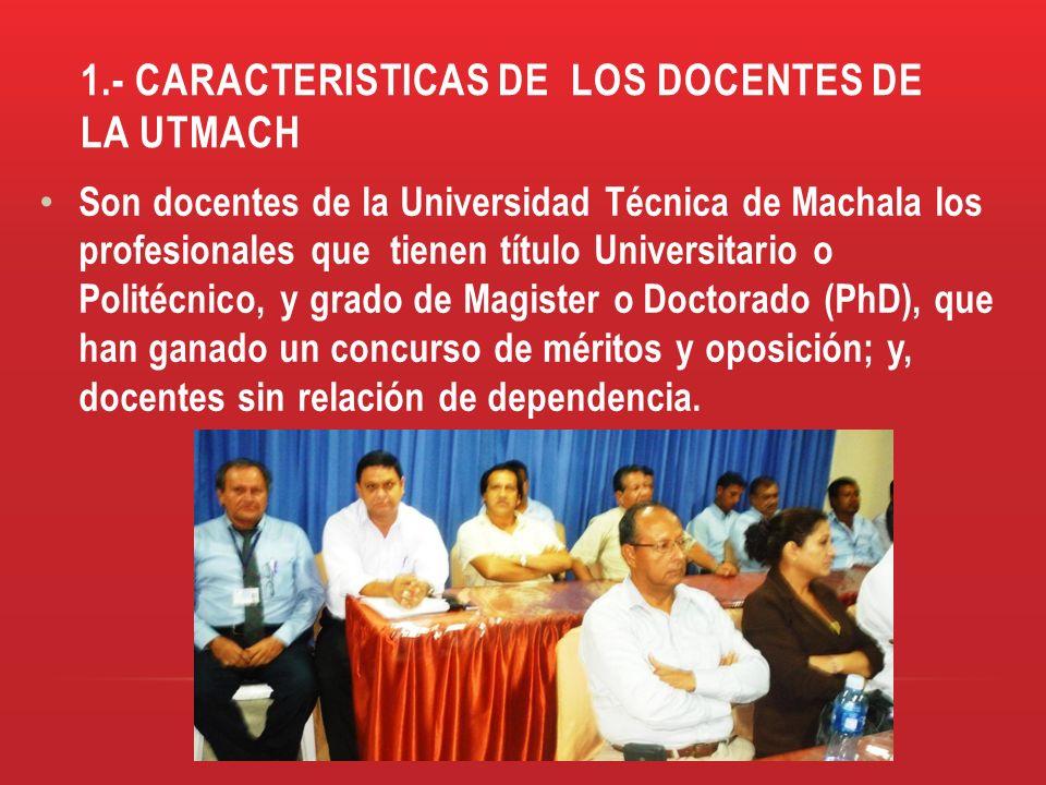 1.- CARACTERISTICAS DE LOS DOCENTES DE LA UTMACH