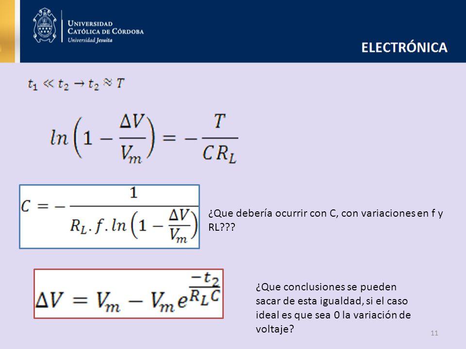 ¿Que debería ocurrir con C, con variaciones en f y RL