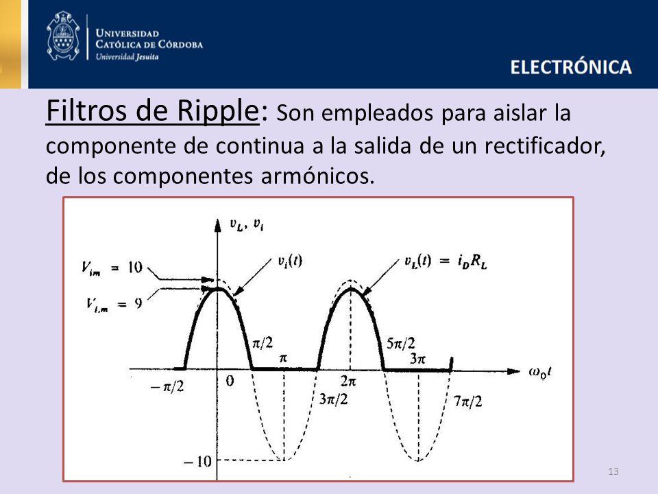 Filtros de Ripple: Son empleados para aislar la componente de continua a la salida de un rectificador, de los componentes armónicos.
