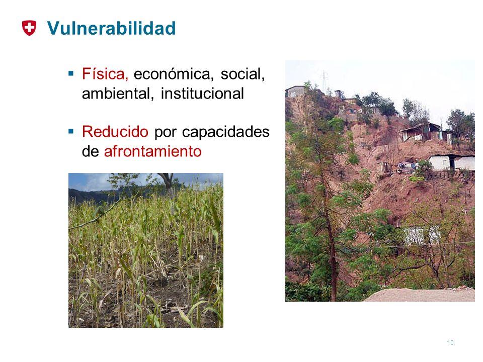 Vulnerabilidad Física, económica, social, ambiental, institucional