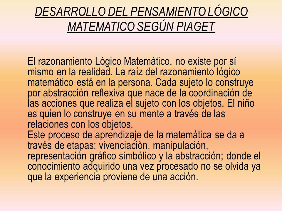 DESARROLLO DEL PENSAMIENTO LÓGICO MATEMATICO SEGÚN PIAGET