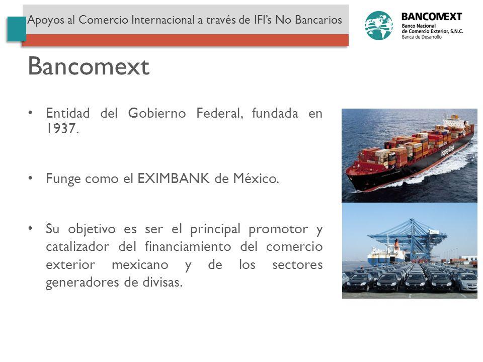 Bancomext Entidad del Gobierno Federal, fundada en 1937.