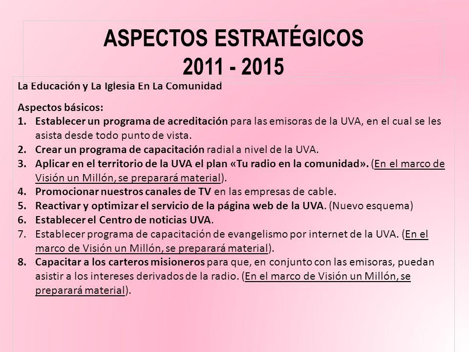 ASPECTOS ESTRATÉGICOS 2011 - 2015