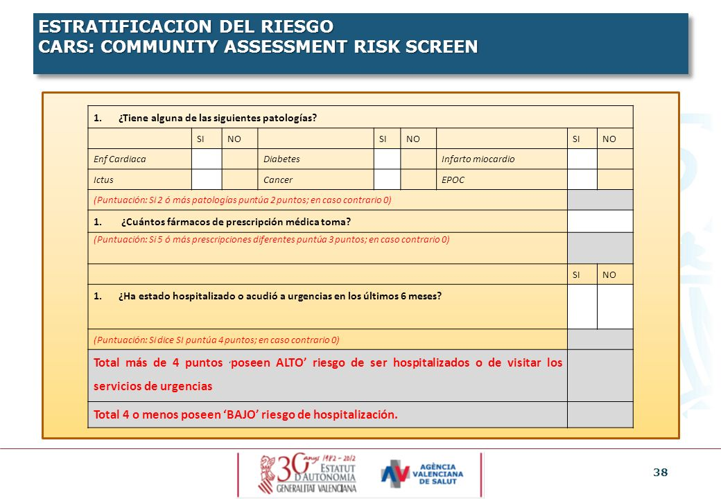 ESTRATIFICACION DEL RIESGO CARS: COMMUNITY ASSESSMENT RISK SCREEN