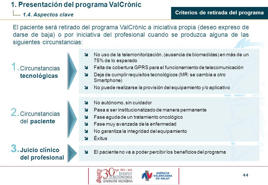 Criterios de retirada del programa