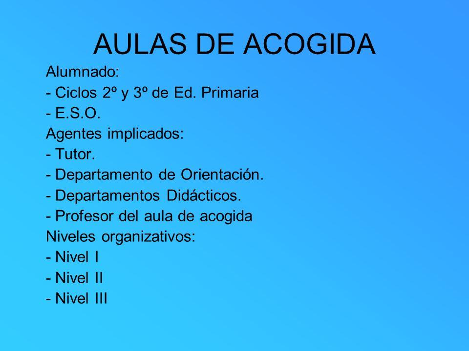 AULAS DE ACOGIDA Alumnado: - Ciclos 2º y 3º de Ed. Primaria - E.S.O.