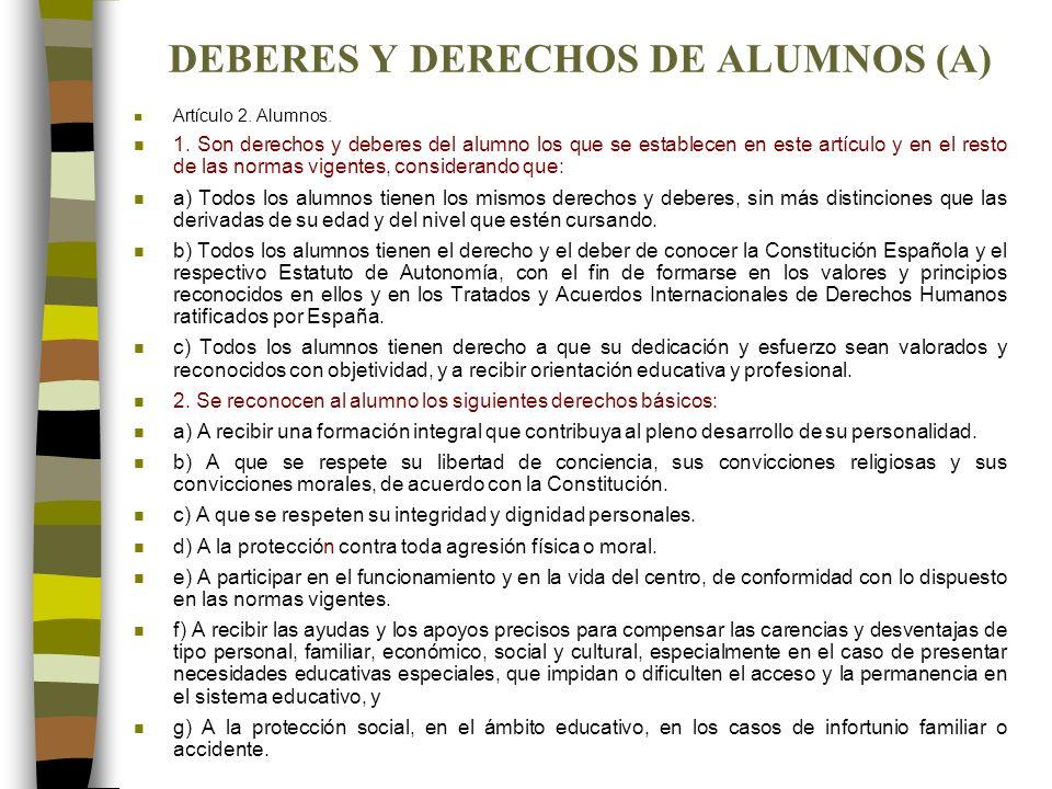 DEBERES Y DERECHOS DE ALUMNOS (A)