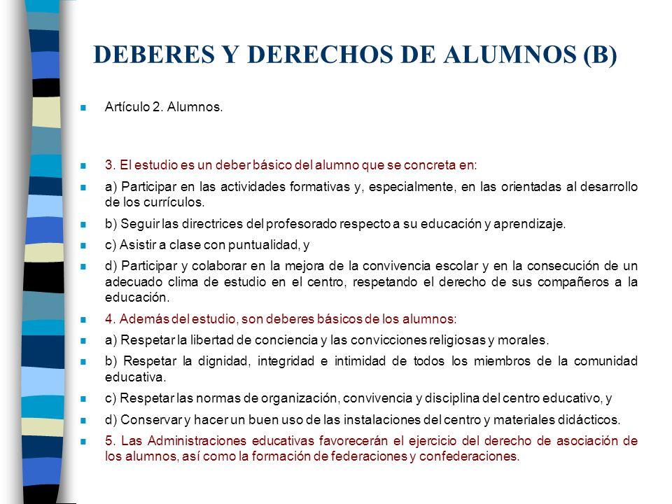 DEBERES Y DERECHOS DE ALUMNOS (B)