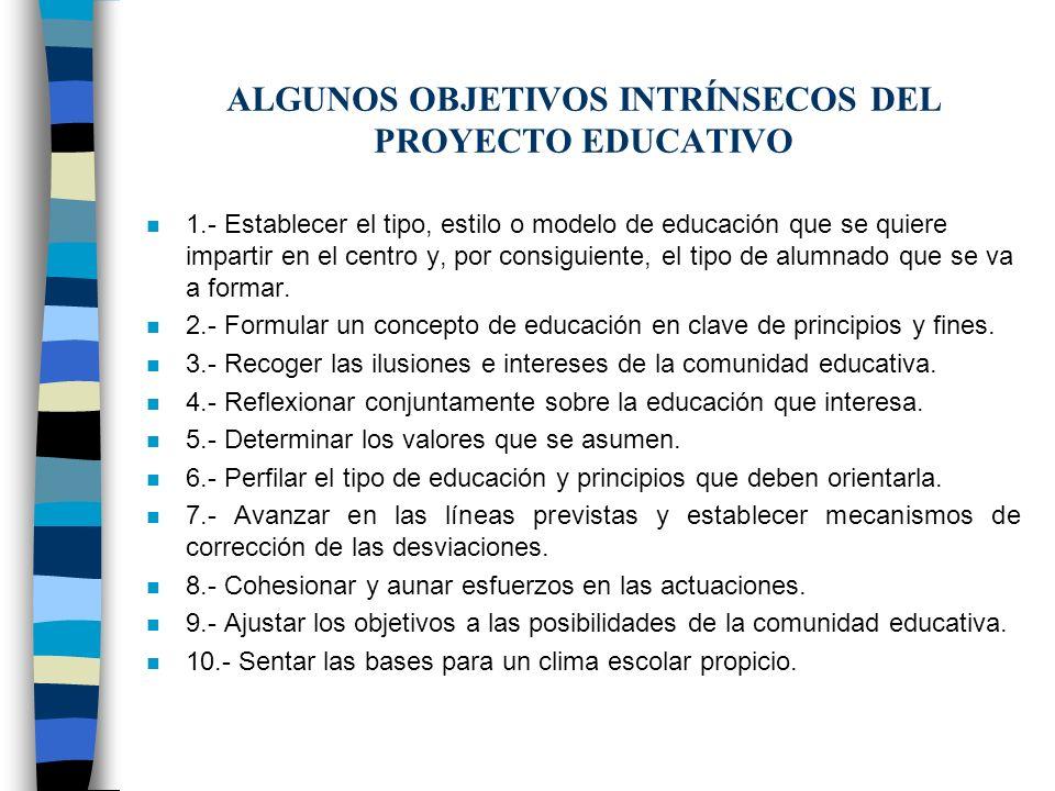 ALGUNOS OBJETIVOS INTRÍNSECOS DEL PROYECTO EDUCATIVO