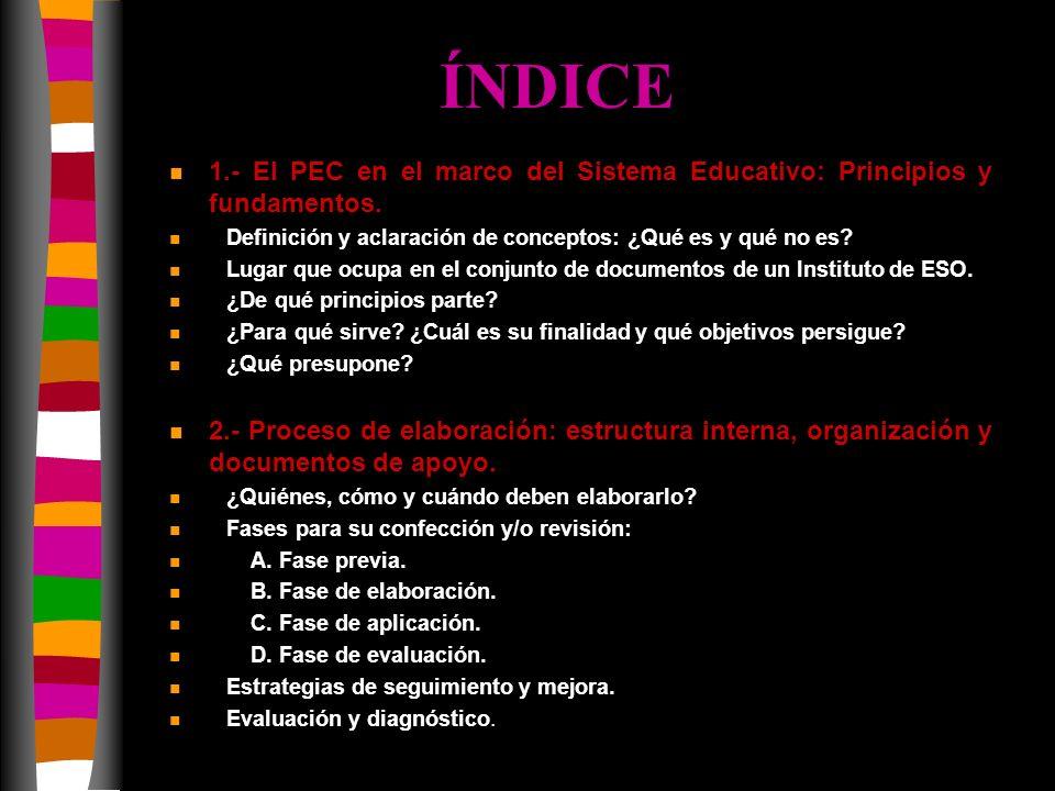 ÍNDICE 1.- El PEC en el marco del Sistema Educativo: Principios y fundamentos. Definición y aclaración de conceptos: ¿Qué es y qué no es