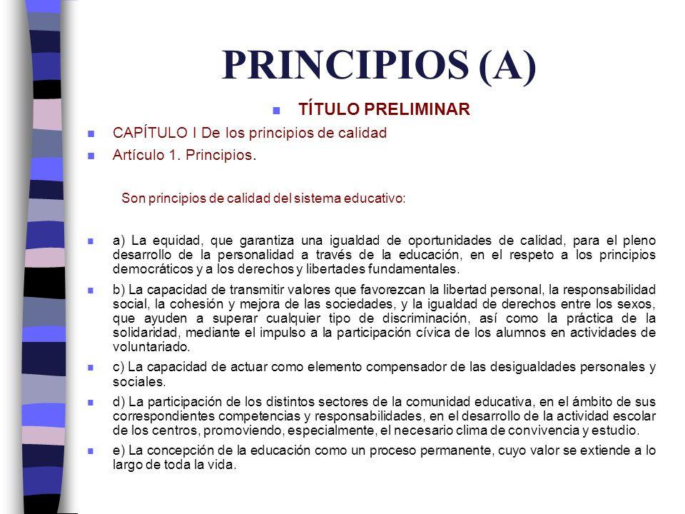 PRINCIPIOS (A) TÍTULO PRELIMINAR