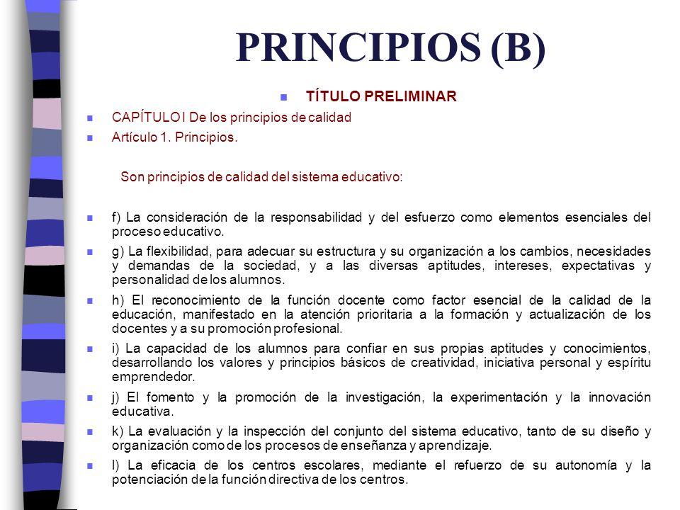 PRINCIPIOS (B) TÍTULO PRELIMINAR