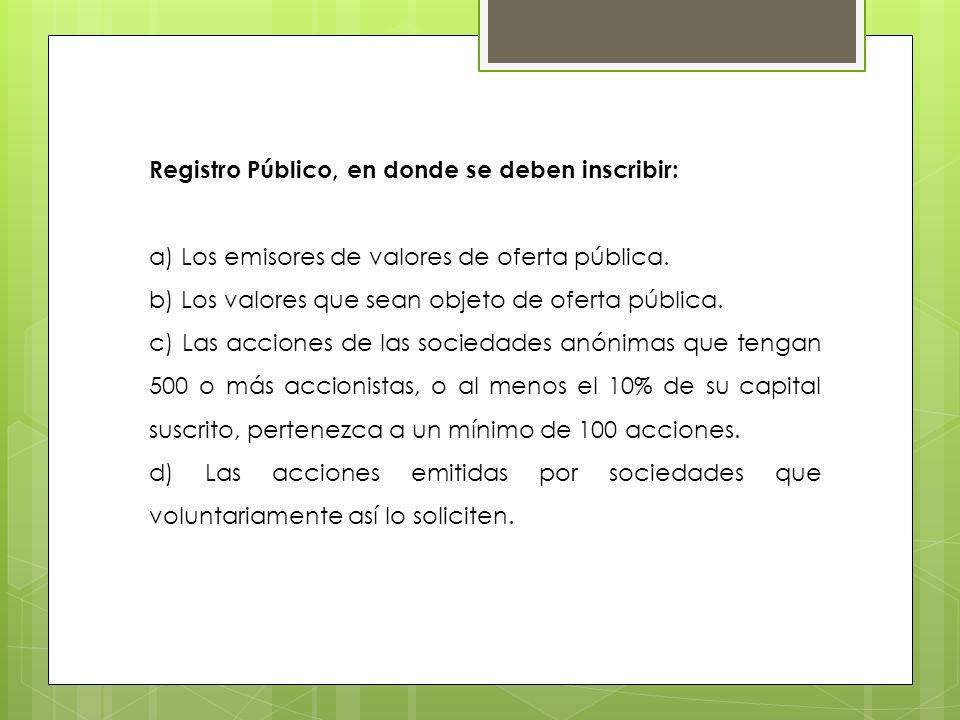 Registro Público, en donde se deben inscribir: