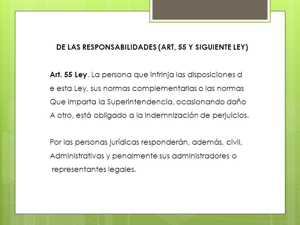 De las Responsabilidades (Art, 55 y siguiente Ley)