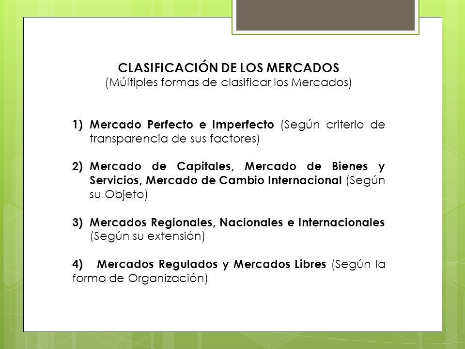 CLASIFICACIÓN DE LOS MERCADOS