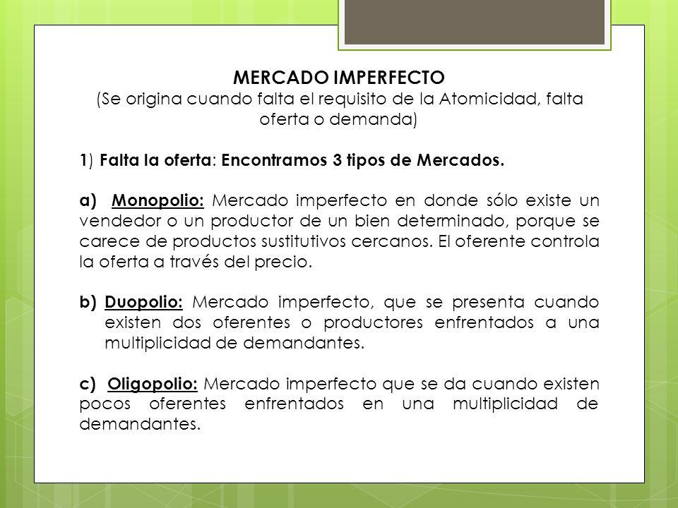 MERCADO IMPERFECTO(Se origina cuando falta el requisito de la Atomicidad, falta oferta o demanda)