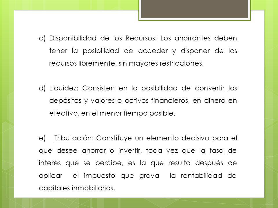 Disponibilidad de los Recursos: Los ahorrantes deben tener la posibilidad de acceder y disponer de los recursos libremente, sin mayores restricciones.