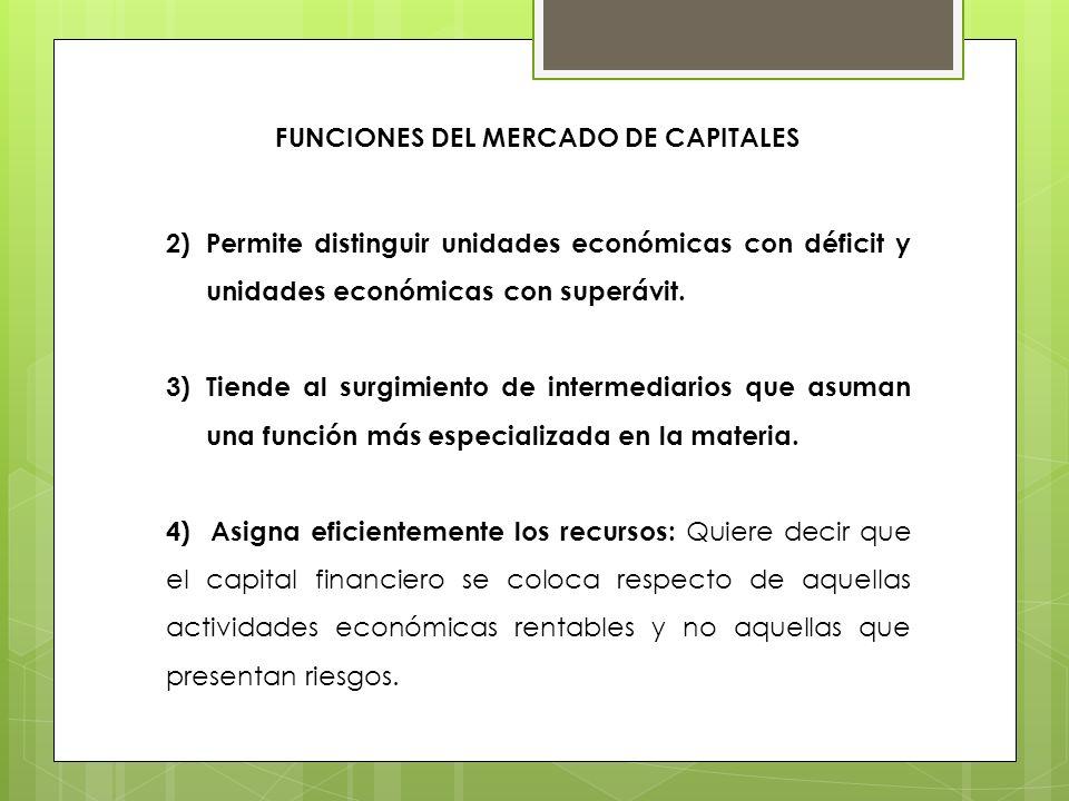 FUNCIONES DEL MERCADO DE CAPITALES