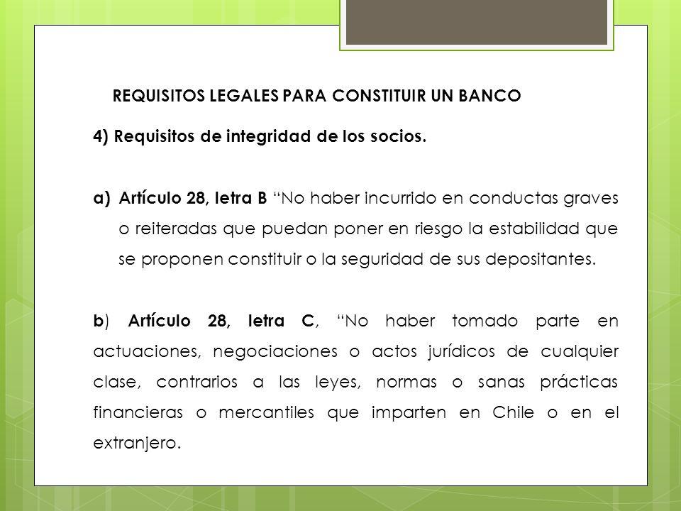REQUISITOS LEGALES PARA CONSTITUIR UN BANCO
