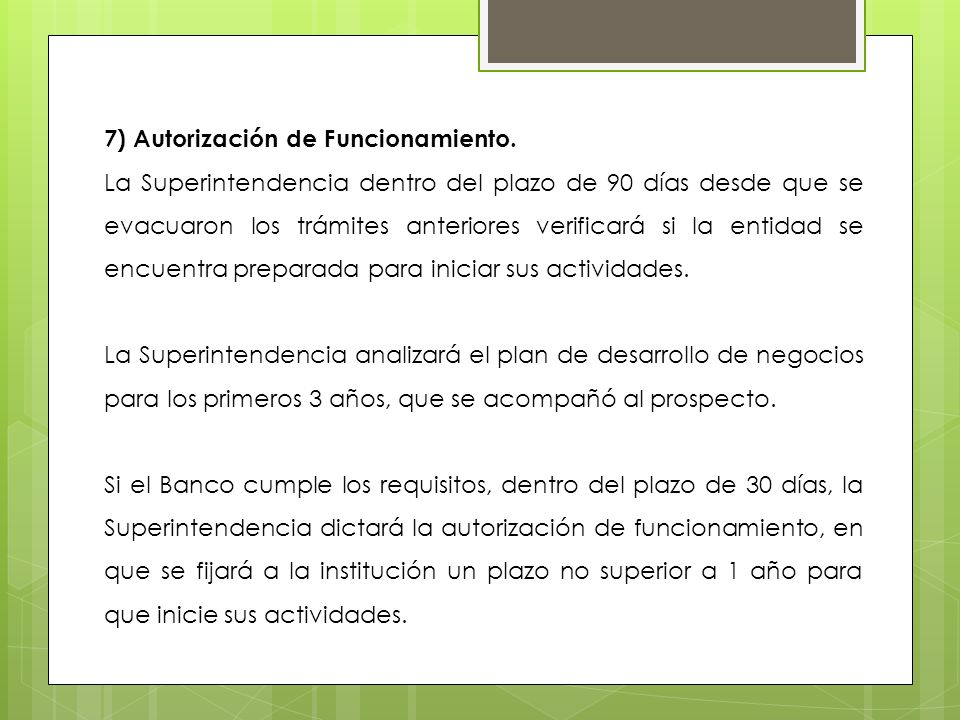 7) Autorización de Funcionamiento.