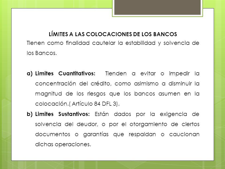 Límites a las colocaciones de los Bancos