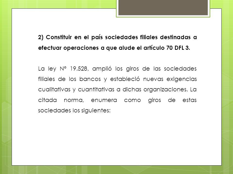 2) Constituir en el país sociedades filiales destinadas a efectuar operaciones a que alude el artículo 70 DFL 3.