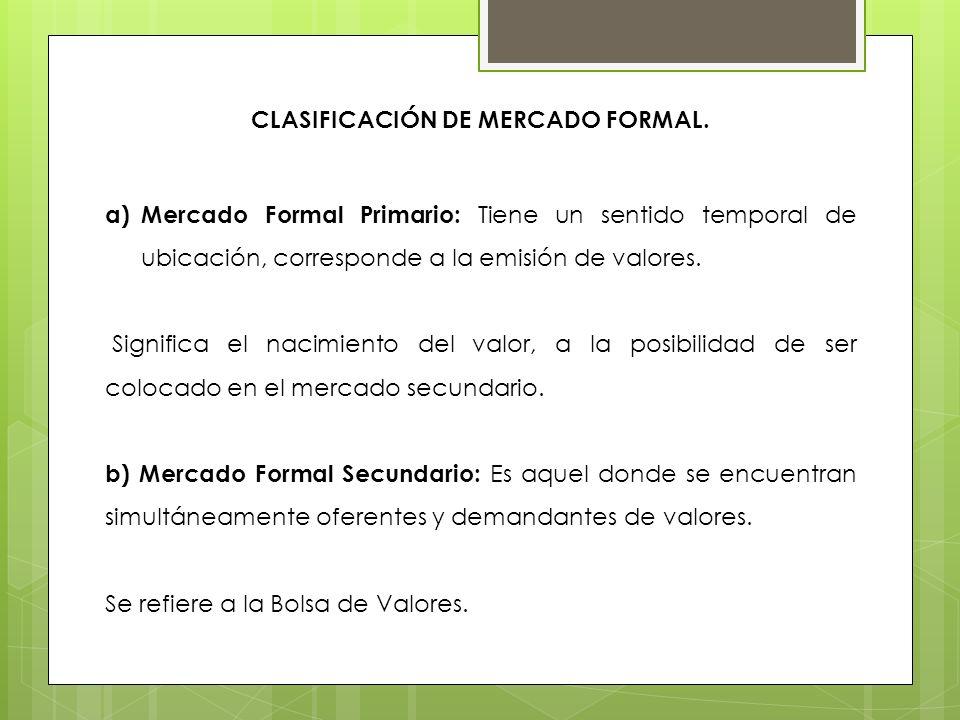 Clasificación de Mercado Formal.