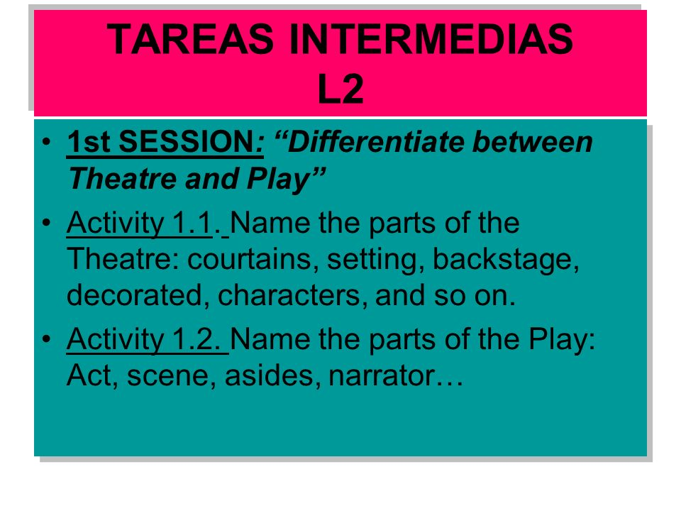TAREAS INTERMEDIAS L2 1st SESSION: Differentiate between Theatre and Play