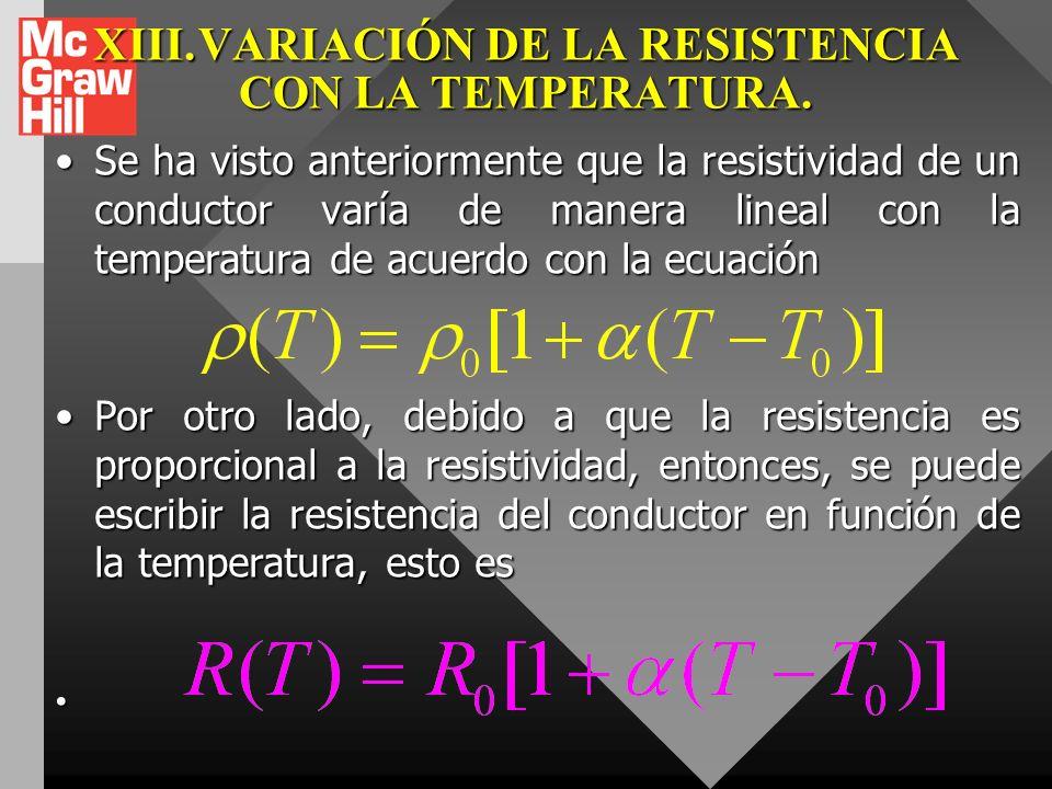 XIII. VARIACIÓN DE LA RESISTENCIA CON LA TEMPERATURA.