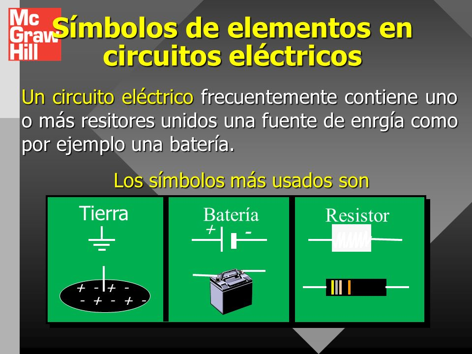 Símbolos de elementos en circuitos eléctricos
