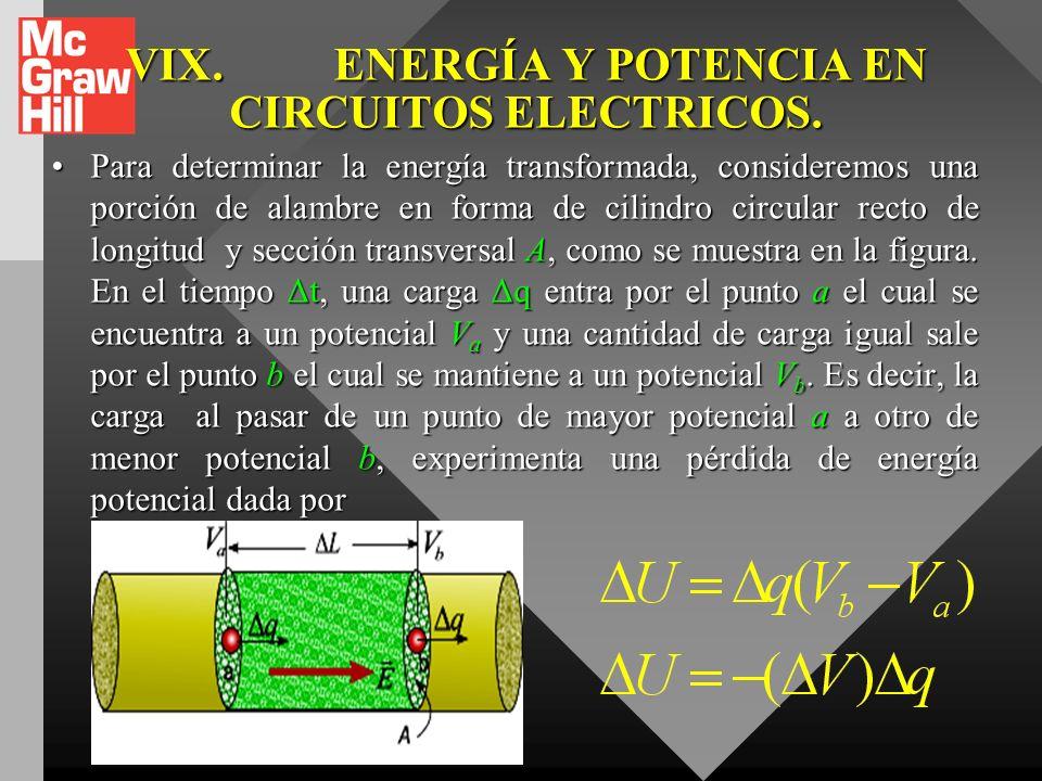 VIX. ENERGÍA Y POTENCIA EN CIRCUITOS ELECTRICOS.