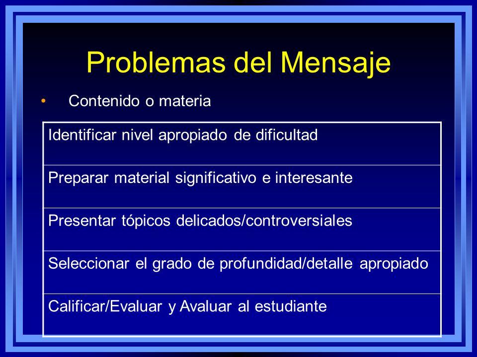 Problemas del Mensaje Identificar nivel apropiado de dificultad