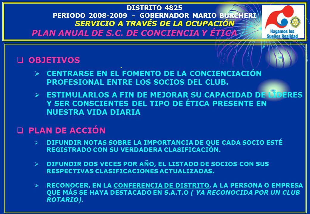 PLAN ANUAL DE S.C. DE CONCIENCIA Y ÉTICA
