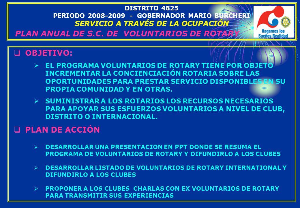 PLAN ANUAL DE S.C. DE VOLUNTARIOS DE ROTARY