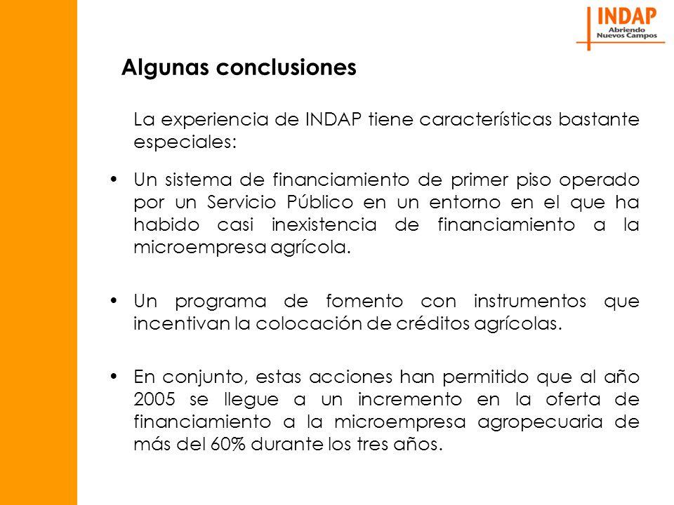 Algunas conclusiones La experiencia de INDAP tiene características bastante especiales: