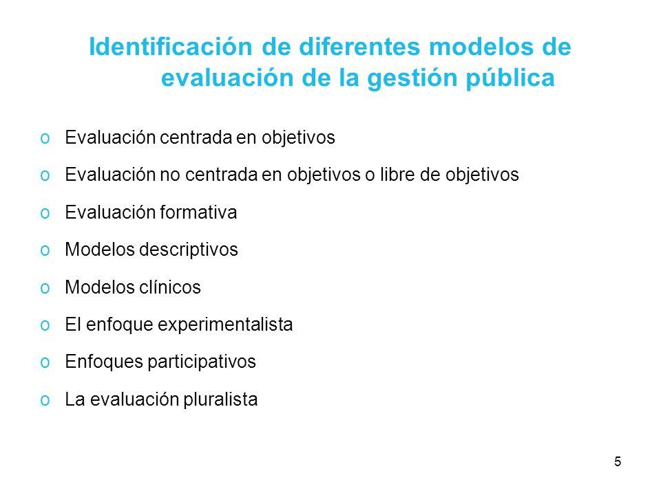 Identificación de diferentes modelos de evaluación de la gestión pública