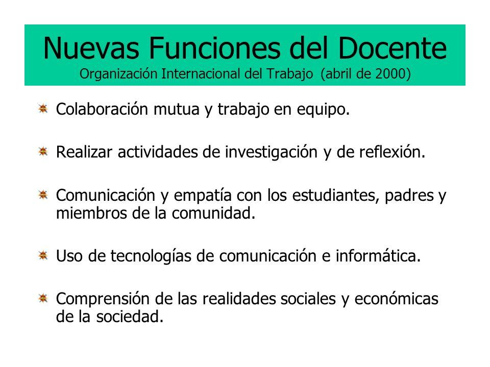 Nuevas Funciones del Docente Organización Internacional del Trabajo (abril de 2000)
