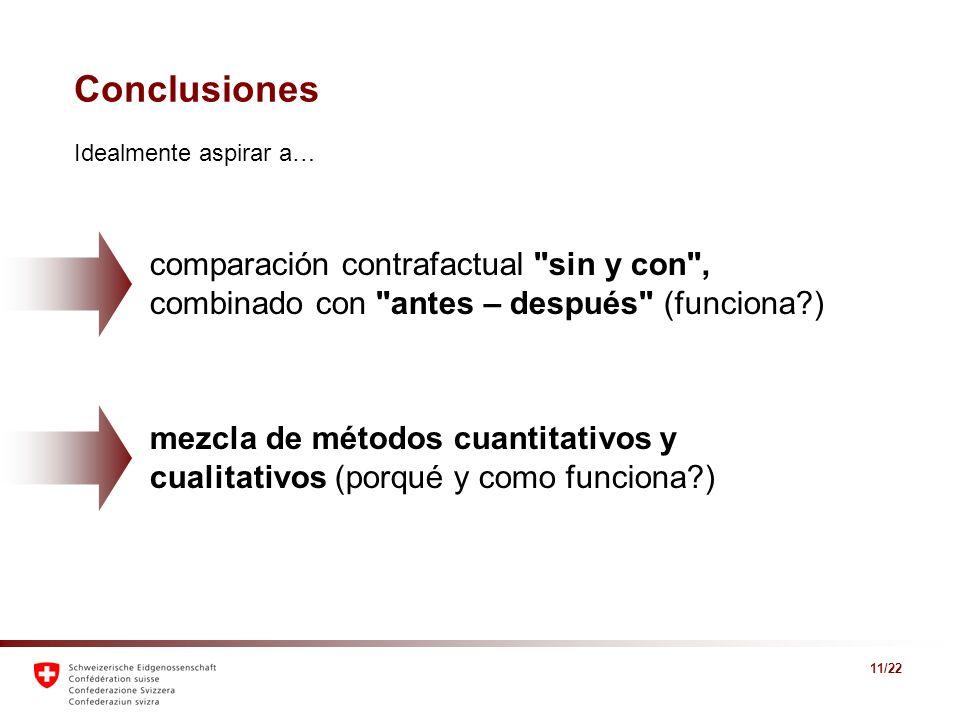 Conclusiones Idealmente aspirar a… comparación contrafactual sin y con , combinado con antes – después (funciona )