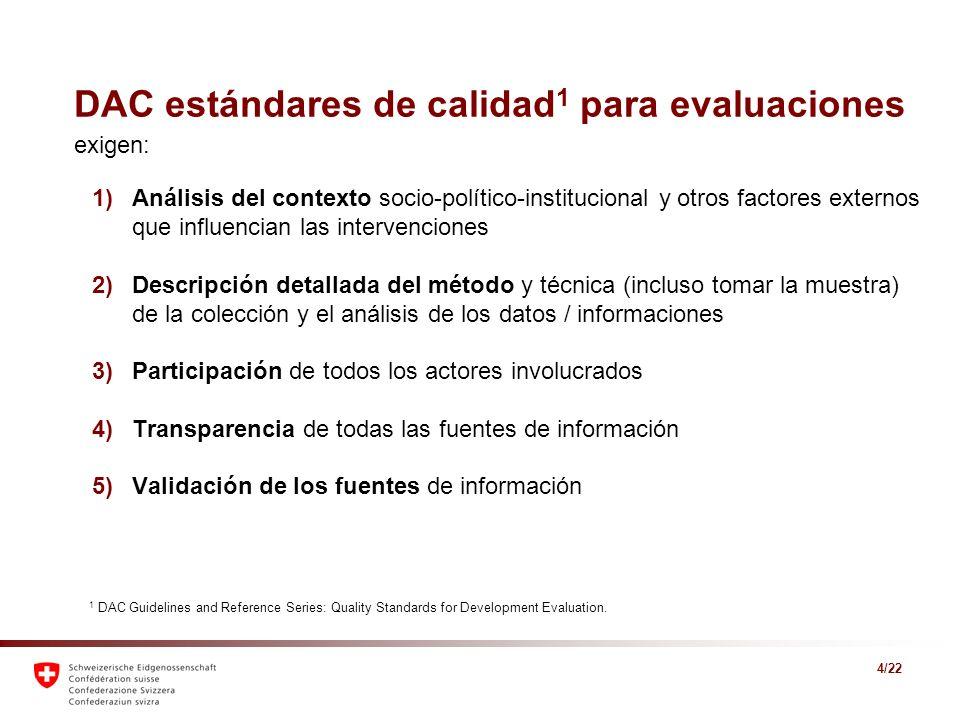 DAC estándares de calidad1 para evaluaciones