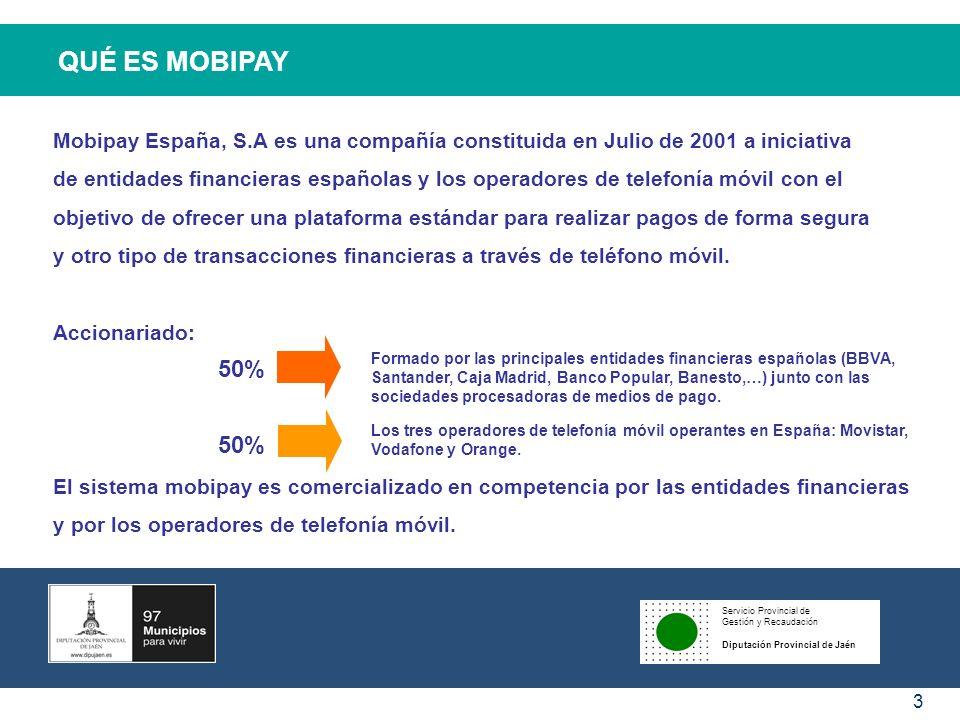 QUÉ ES MOBIPAY Mobipay España, S.A es una compañía constituida en Julio de 2001 a iniciativa.