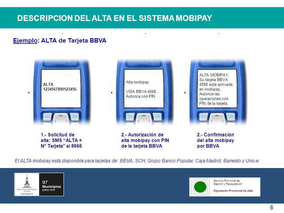 DESCRIPCION DEL ALTA EN EL SISTEMA MOBIPAY