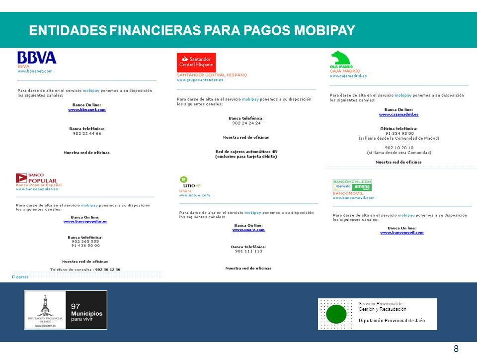 ENTIDADES FINANCIERAS PARA PAGOS MOBIPAY