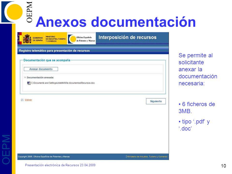 Anexos documentación Se permite al solicitante anexar la documentación necesaria: 6 ficheros de 3MB.