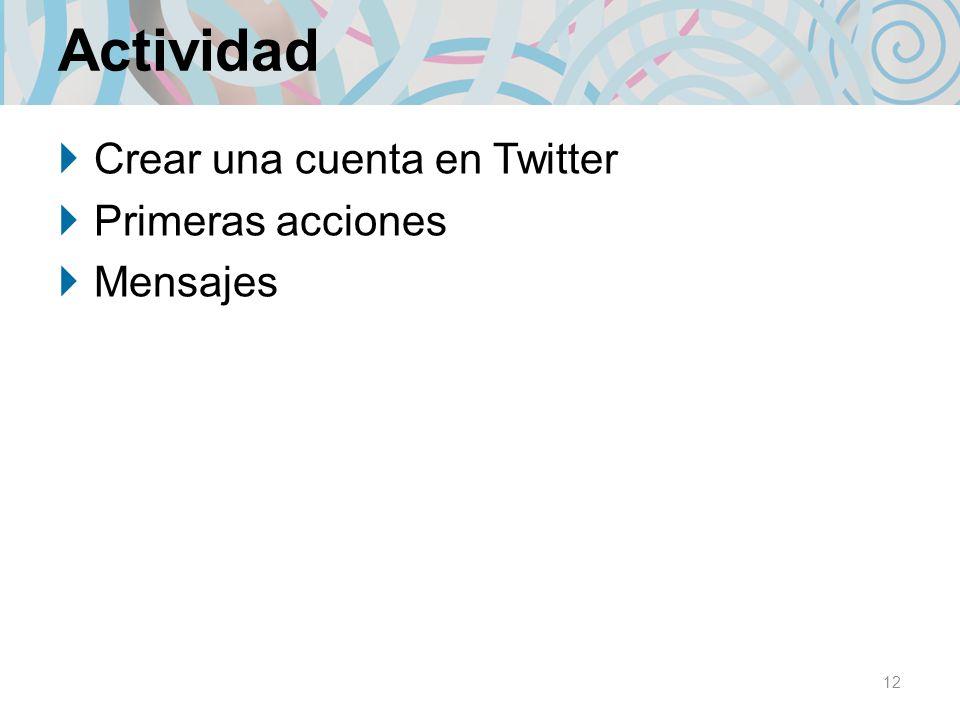 Actividad Crear una cuenta en Twitter Primeras acciones Mensajes