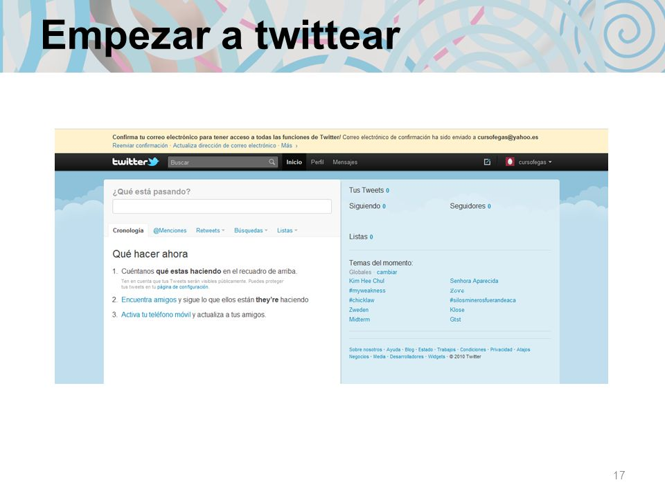 Empezar a twittear