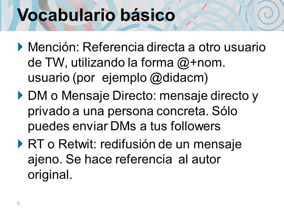 Vocabulario básico Mención: Referencia directa a otro usuario de TW, utilizando la forma @+nom. usuario (por ejemplo @didacm)