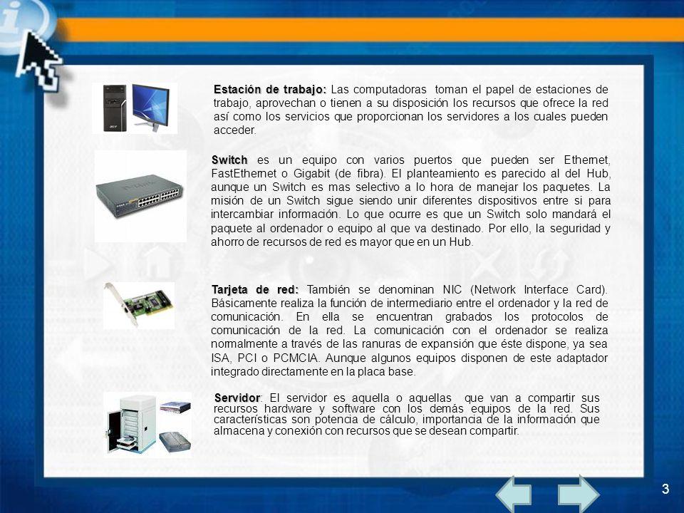 Estación de trabajo: Las computadoras toman el papel de estaciones de trabajo, aprovechan o tienen a su disposición los recursos que ofrece la red así como los servicios que proporcionan los servidores a los cuales pueden acceder.